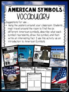 American Symbols Posters and Vocabulary Activity #HollieGriffithTeaching #KidsActivities