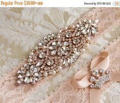 SALE 15% OFF Blush Lace Bridal Garter Set Lace by GarterQueen