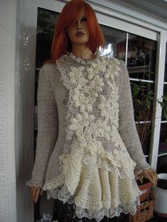Handmade asymmetrical crochet cardigan/ wedding lace by GoldenYarn