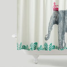 Cost Plus World Market Crowned Elephant Shower Curtain is made of 100% cotton that is screen-printed by hand in Jaipur, India. Featuring a majestic elephant wearing a whimsical crown, this shower curtain adds an exotic, regal touch to your bath time. >> #WorldMarket
