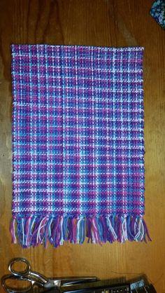 Warp: blue/pink/purple/white verigated  Weft: same 100% cotton