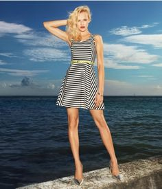 STRIPED PONTE KNIT FIT AND FLARE DRESS