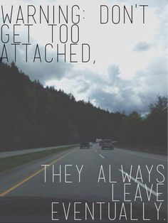 Don't get too attached, they always leave eventually.