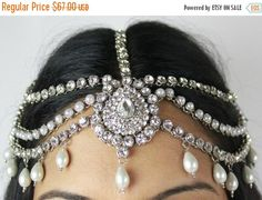ON SALE Handmade Head Chain Matha Patti Indian by Glimour on Etsy