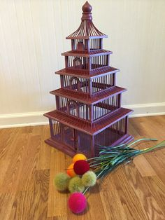 PAGODA CHINOISERIE BIRDCAGE Large Wedding Birdcage Asian Birdcage Wood and Metal, Hollywood Regency, Palm Beach Chic, at Ageless Alchemy