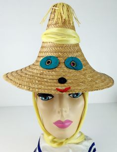 Vintage Rare 1950's Italian Figural Felt Face Beach Straw Novelty Hat a1 #Unbranded