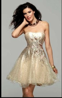 Gold and sparkles prom dress