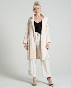 GAUZE SOLID SHORT TRENCH