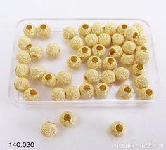 Boule percée en Argent 925 plaqué or effet diamanté, 6 mm / trou 2,4 mm Plaque, Creative, Gold Plating, Crystals, Switzerland