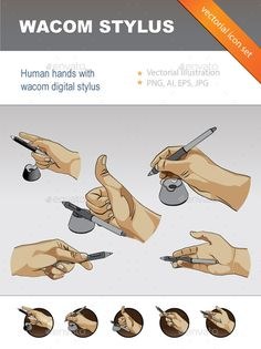 Human Hands with Digital Stylus Stylus, Icon Set, Icon Design, Hands, Graphic Design, Technology, Cartoon, Vectors, Digital