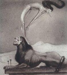 Alfred Kubin The Male Sphinx, c. Museen In München, Alfred Kubin, Vintage Illustration Art, Bizarre Art, Creepy Art, Dark Images, Museum, Yellow Art, Arte Horror