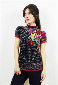 90s+boho+floral+embellished+crunch+top