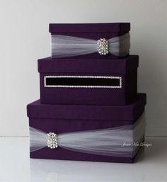 Purple Wedding Card Box Money Box Wedding Gift Card Money Box - Custom Made to Order Money Box Wedding, Card Box Wedding, Wedding Gifts, Cake Wedding, Plum Wedding, Trendy Wedding, Wedding Colors, Deep Purple Wedding, Purple Wedding Decorations