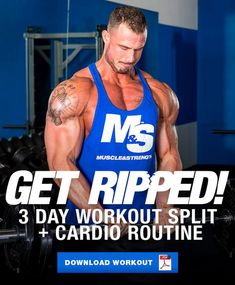 Get RIPPED 3 Day Workout Split Plus Cardio Routine is part of Workout splits - A lot of the programs aimed at helping you get ripped leave off the cardio portion of the workout, this one doesn't Check out this 3 day shred split! Get Ripped Workout, 3 Day Workout, Cardio Workout Routines, Shred Workout, Workout Splits, Full Body Workout Routine, Workout Plan For Men, Weight Training Workouts, Men Exercise