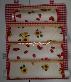 Tante idee - Tante idee per la casa: La Cucina Easy Crafts For Teens, Diy Crafts For Gifts, Sewing Hacks, Sewing Projects, Craft Projects, Art Deco Curtains, Flannel Rag Quilts, Sewing Caddy, Cuisines Diy