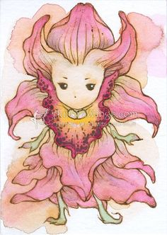 From my Flower Sprite series, here is a fancy orchid sprite. Flower Sprite series is a growing nature themed collection. I am continuing to add ACEO