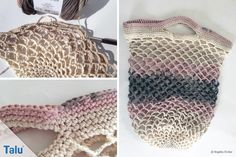 Start crochet crochet shopping net / ball net - free tutorial with template Crochet Rope, Cute Crochet, Crochet Hats, Love Craft, School Bags, Handicraft, Fashion Bags, Straw Bag, Free Pattern