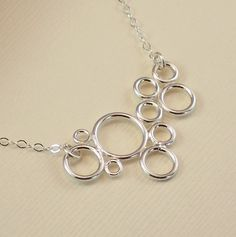 Sterling Silver Circles Necklace Modern Simple by ZionShore=