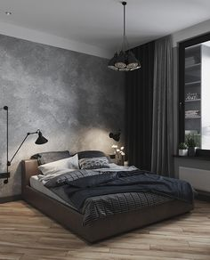 Igor O. Apartment in Moscow. Grey Bedroom Colors, Black Bedroom Design, Luxury Bedroom Design, Room Design Bedroom, Home Room Design, Home Decor Bedroom, Interior Design, Industrial Bedroom Design, Bedroom Modern