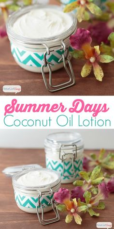 This luxurious, moisturizing homemade coconut oil lotion has a light, floral scent that will remind you of a tropical beach vacation. Made with coconut oil, avocado oil and a blend of fruity and floral essential oils, it's a great way to pamper yourself! Coconut Oil Moisturizer, Coconut Oil Lotion, Homemade Coconut Oil, Coconut Oil For Acne, Benefits Of Coconut Oil, Homemade Moisturizer, Diy Lotion, Lotion Bars, Essential Oil Blends
