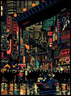 Raid 71 - Urban Sprawl - Judge Dredd Official Print for Vice Press - Geek-Art. Cyberpunk Kunst, Cyberpunk City, Aesthetic Japan, City Aesthetic, Night Aesthetic, City Wallpaper, Scenery Wallpaper, Pixel Art, Poster Cars