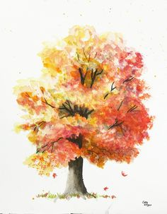 Autumn Tree Original Watercolor Painting by Cathy Hillegas, 9x11, yellow, gold, orange, red, green, gray, black, falling leaves
