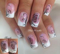 Sculpted gel enhancement.  #floralnaildesign #floralnailart #roses #floral #handpaintedflowers #pinkandwhites #frenchnails #gelnails #nailart #handpaintednails #naildesign #nails #lisakorallus #liquidglamour #nailpictures #scrolls #detaillinedrawing