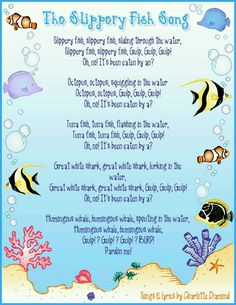 """Large group: Students will be able to sing and repeat """"the slippery fish"""" song. They will develop fine motor coordination Kindergarten Songs, Preschool Music, Preschool Classroom, Preschool Activities, Montessori Elementary, Montessori Education, Preschool Age, Therapy Activities, Beach Theme Preschool"""