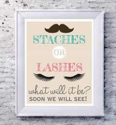 Staches or Lashes Gender Reveal Set  Gender by DesignsByLindsayy