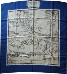 Jacques Fouilloux hunting treatise silk scarf,  a book dedicated to king Charles IX of France