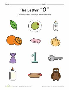 There are things that start with O on this printable, can your child find them? It's great alphabet phonics practice, which will help with reading. Letter O Worksheets, Printable Preschool Worksheets, Letter Activities, Preschool Learning Activities, Alphabet Worksheets, Free Printables, Letter Tracing, Educational Activities, Alphabet Phonics