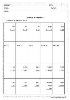 Avaliação de matemática: Os quatro operadores e problemas - 5º ano