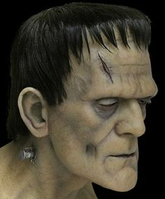 Frankenstein - A silicone Sculpt By Mike Hill Frankenstein Face Paint, Bride Of Frankenstein, Creative Halloween Costumes, Halloween Make Up, Halloween 2018, Halloween Masks, Horror Monsters, Frankenstein's Monster, Special Effects Makeup