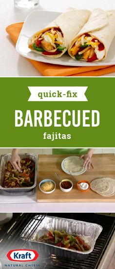 Quick-Fix Barbecued Fajitas – If there's anyone who thinks tasty BBQ chicken and veggie fajitas are restaurant-only fare, we're out to change your mind with this easy and delicious recipe that's ready for your dinner table in just 40 minutes! Just don't forget the toppings—like KRAFT Mexican Style Finely Shredded Four Cheese, sour cream, salsa, and lettuce.