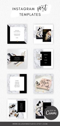 Brand your social media pages with these gorgeous black, gold and marble Instagram templates! Instagram post template are the perfect way to have a cohesive look on your page. #instagramtemplates #canvatemplate #instagramposttemplate Social Media Branding, Social Media Design, Social Media Graphics, Instagram Layouts, Instagram Post Template, Instagram Posts, Blog Layout, Social Media Pages, Layout Template