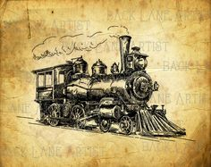 Vintage Locomotive Train Vehicle Clipart Lineart Illustration Instant Download PNG JPG Digi Line Art Image Drawing L987 by BackLaneArtist on Etsy