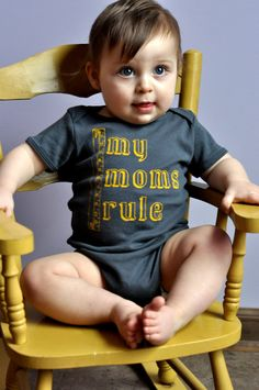 "Cute ""My Moms Rule"" One-Piece for Kids with Lesbian Moms on Etsy, $18.50"
