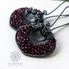 Garnet dream  unique garnet earrings sterling silver wire