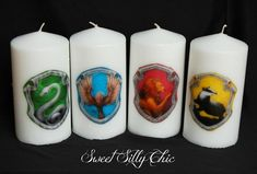 Harry Potter Hogwarts House Crest Candles  Set by SweetSillyChic, $48.00