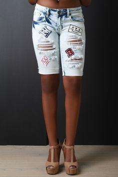 Bleached Distressed Patch Denim Bermuda Shorts
