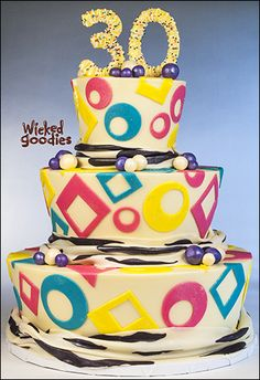 80's style birthday cake by Wicked Goodies