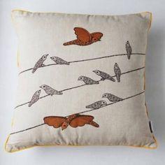 """""""diagonal birdie"""" cushion cover"""