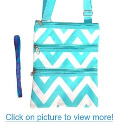Best Turquoise Chevron Messenger Bag Passport Carrier Swingpack Purse Hipster Crossbody Case by TravelNut with Trendy No Metal Headband for Teens and Women. Best Valentines Day Gift for Women and Teens. Guaranteed to please. (Style 10)