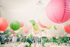 Pretty green, pink and white lanterns at a Long Island marquee wedding #wedding #weddings #event #events #lantern #lanterns #marquee #pink #green
