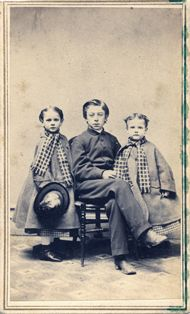 Carrie and Jessie Burnell with Howard Whiting c. 1860, cdv photographed by Dewey's Gallery, Pittsfield, Massachusetts