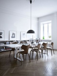 I found 8 Arne Jacobsen chairs hanging out in one place! . bookshelf .