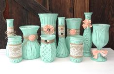 Burlap and Lace Mint and Peach SHABBY CHIC Vase por SoFrickinCute
