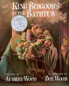 King Bidgood's in the Bathtub features entertaining rhymes by Audrey Wood & excellent and funny illustrations by husband Don Wood. The Court, all dressed in Elizabethan dress, try to persuade the King to leave his bubbly tub. Instead they are ordered to join and do battle with toy ships, eat a lavish feast, dance etc while fully clothed. 1985