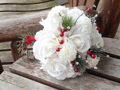 Christmas Bridal Bouquet and Grooms Boutonniere / White Real Touch Roses / Winter Wedding / White Silk Wedding Flowers / Woodland Wedding