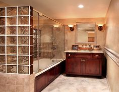 Love this large tub/shower combined for houses with a smaller bathroom space